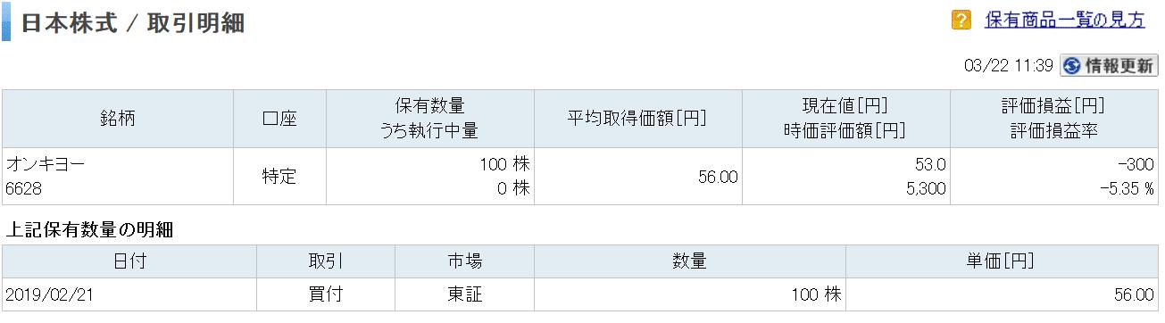 オンキヨーの株明細