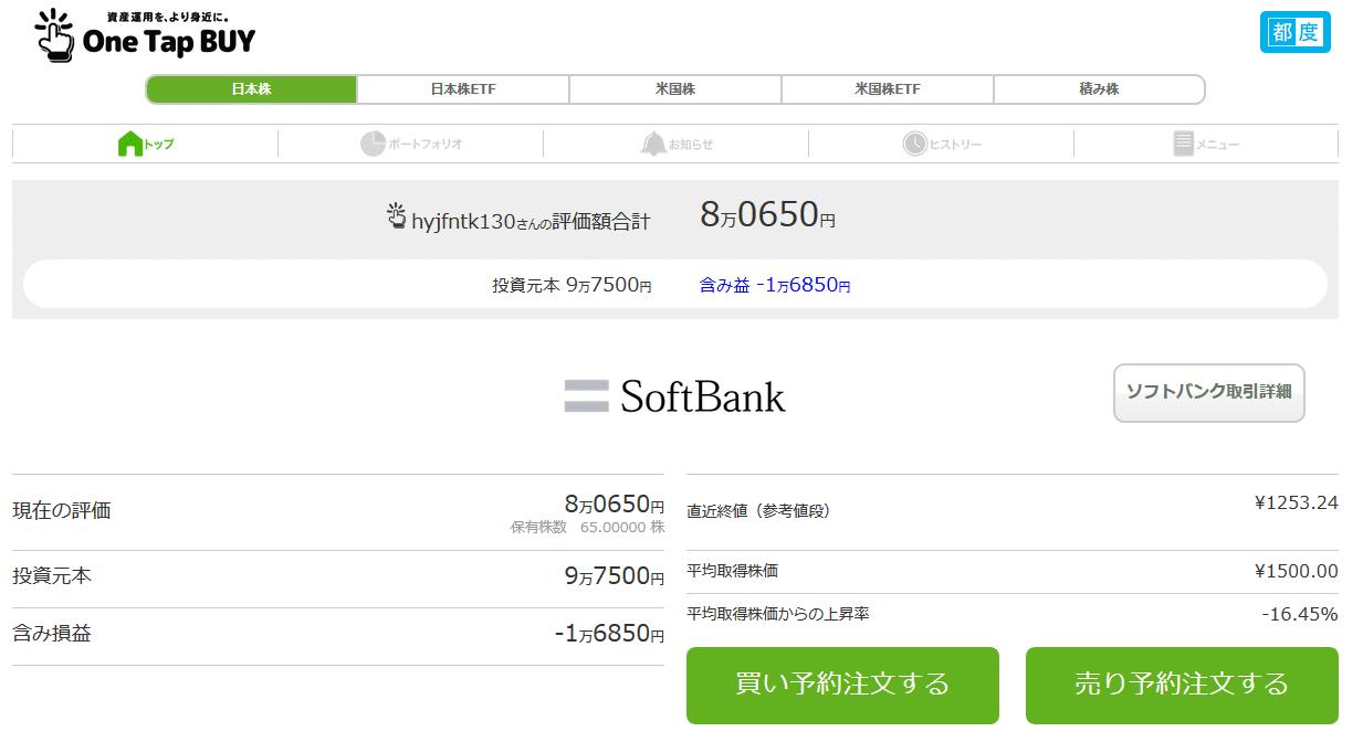 SoftBank-株価2019年3月31日