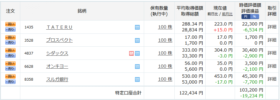 楽天証券-株式投資運用結果