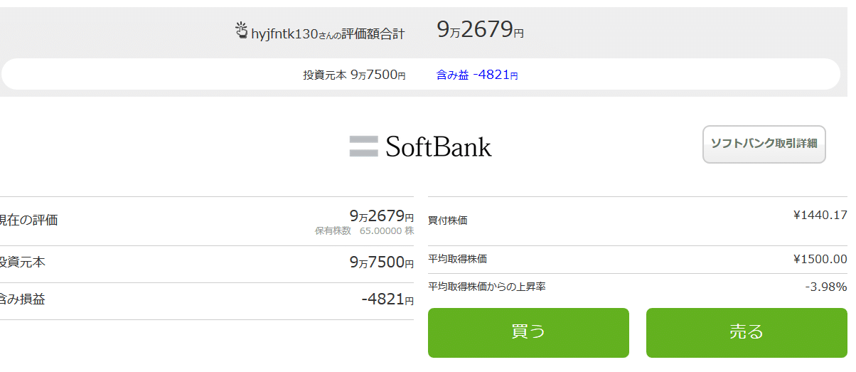 ワンタップバイ-ソフトバンク株